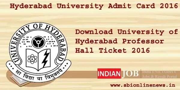 Hyderabad university admit card 2016