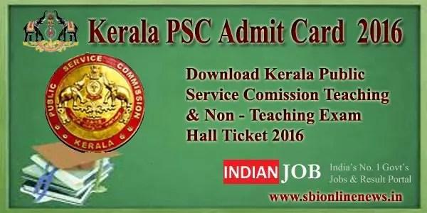 Kerala PSC Admit Card  2016