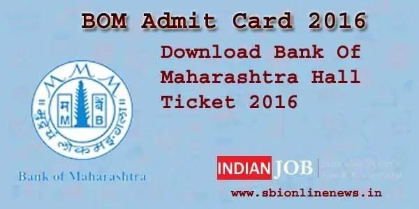 Bank of Maharashtra Admit Card 2016