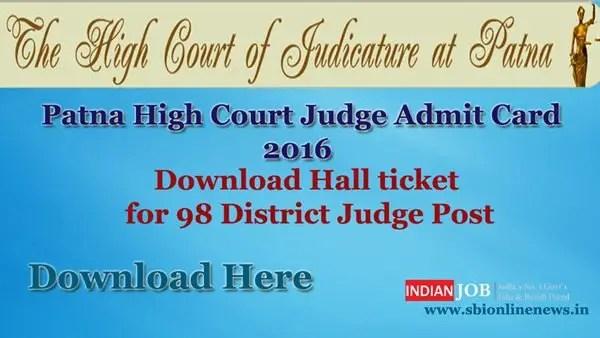Patna High Court Judge Admit Card 2016