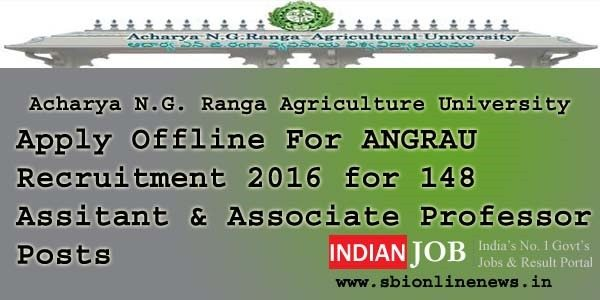 ANGRAU Recruitment 2016