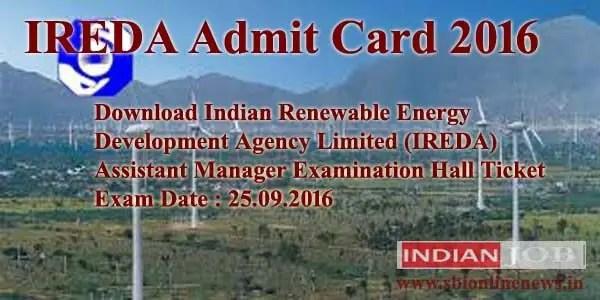 IREDA Admit Card 2016