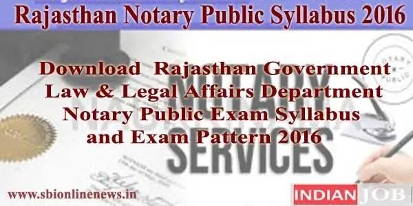 Rajasthan Notary Public Syllabus 2016