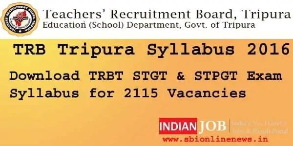 TRB Tripura Syllabus 2016