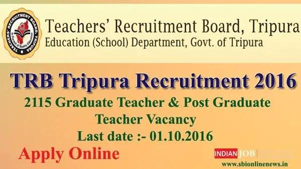 TRB Tripura Recruitment 2016