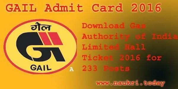 GAIL Admit Card 2016