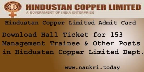 Hindustan Copper Limited Admit Card 2016