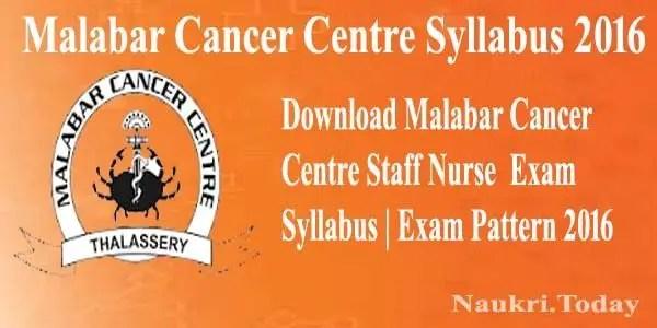 Malabar Cancer Centre Syllabus 2016