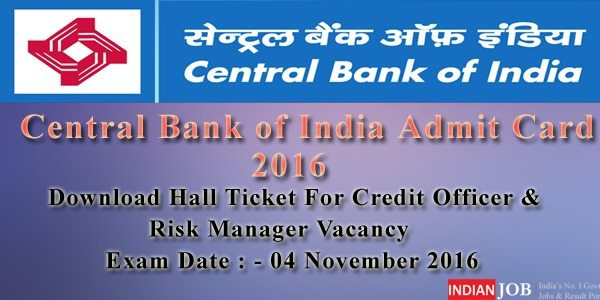 Central Bank of India Admit Card 2016