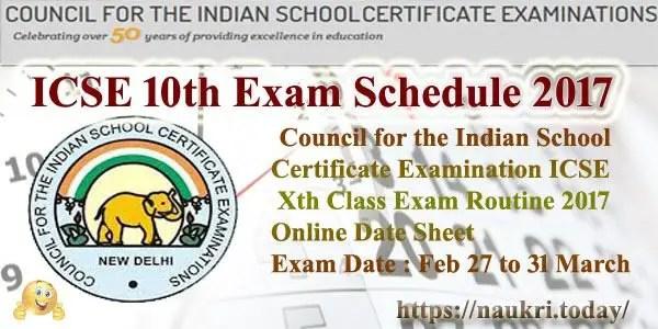 ICSE 10th Exam Schedule 2017