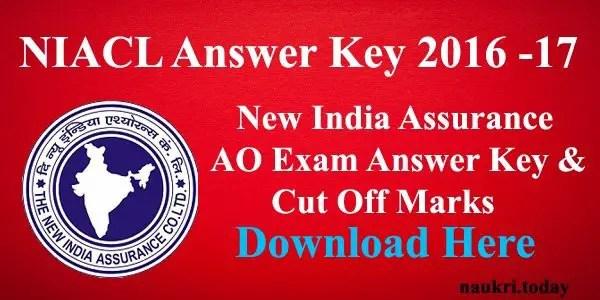 NIACL Answer Key 2016 – 17