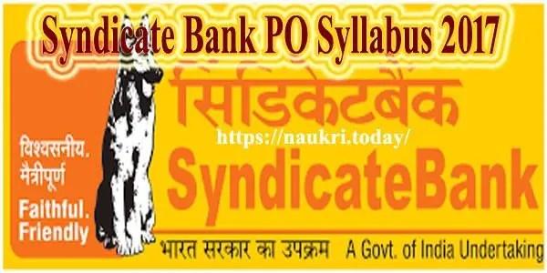 Syndicate Bank PO Syllabus 2017