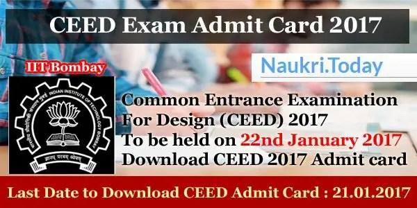 CEED Exam Admit Card 2017