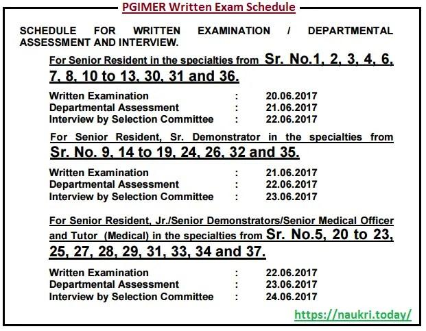 Written Exam Procedure for Chandigarh PGIMER Vacancy 2017