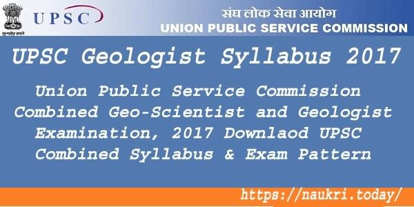UPSC Geologist Syllabus 2017