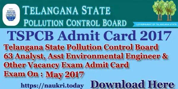 TSPCB Admit Card 2017