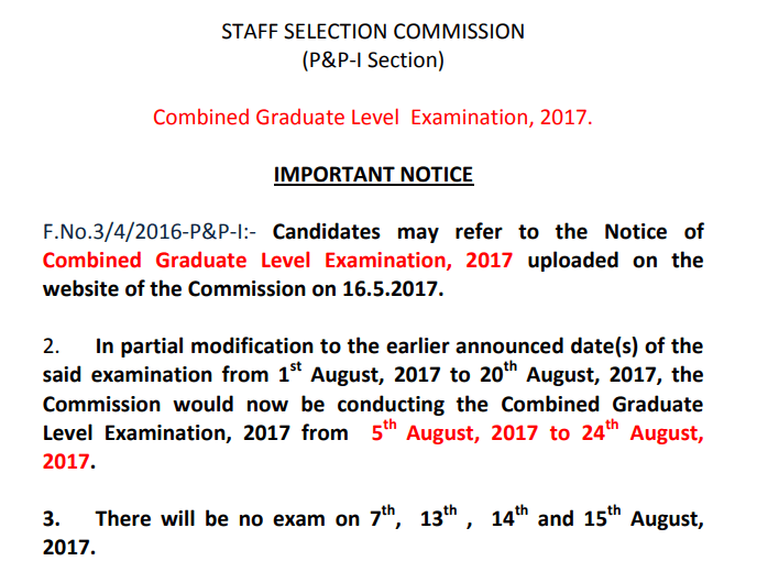 SSC CGLE 2017 exam extend notice