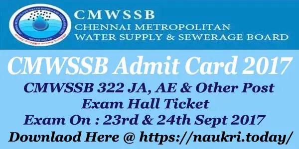 CMWSSB Admit Card 2017