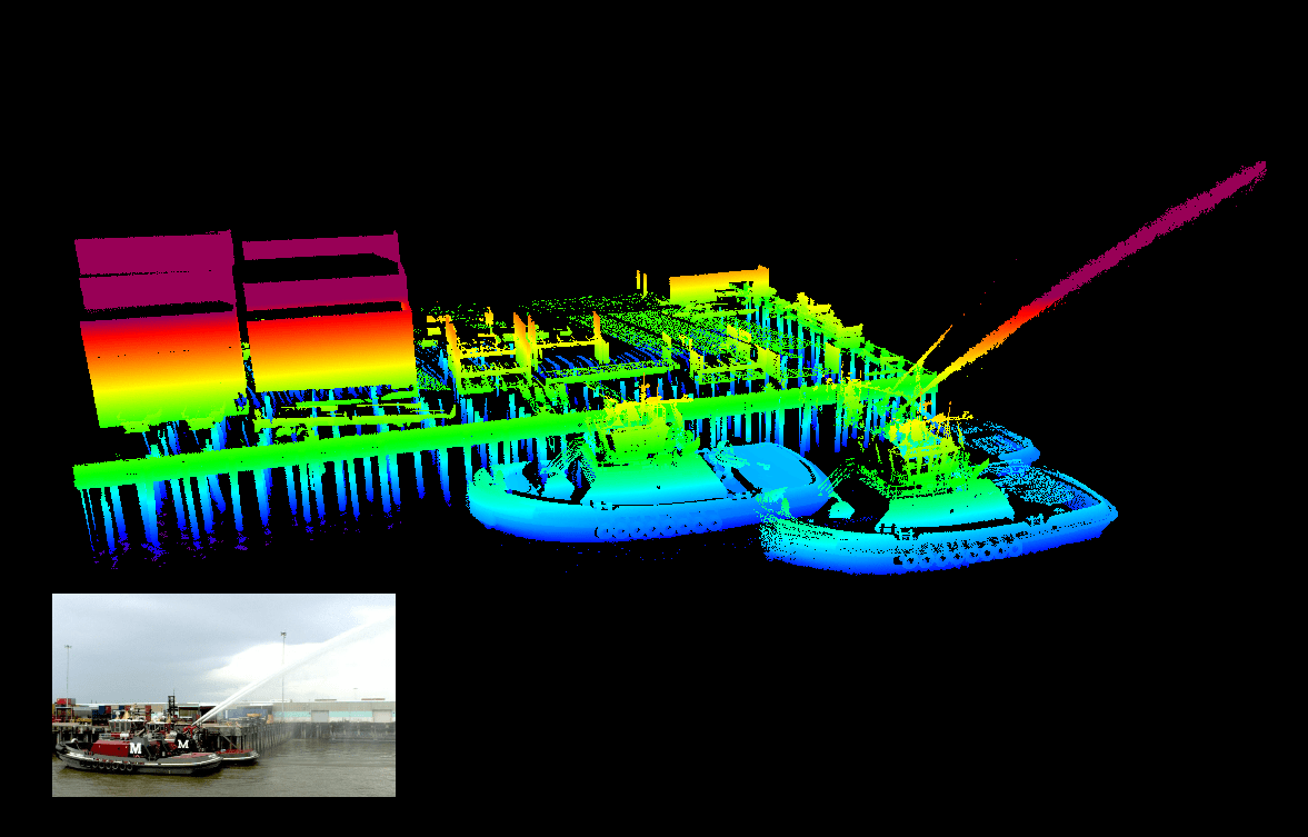 Mobile mapping laser scanner (lidar) image of a ocal tug testing its fire-fighting capabilities.