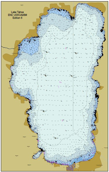 Image shows an Electronic Navigational Chart of the full Lake Tahoe area