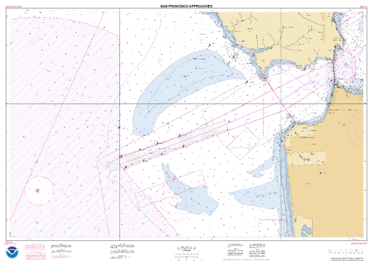 1:20,000 scale NOAA Custom Chart output for the approaches to San Francisco Bay