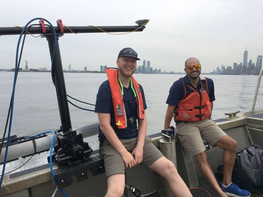 Physical Science Technician Michael Bloom and NRB Technical Advisor Mike Annis in transit to Flushing Bay.