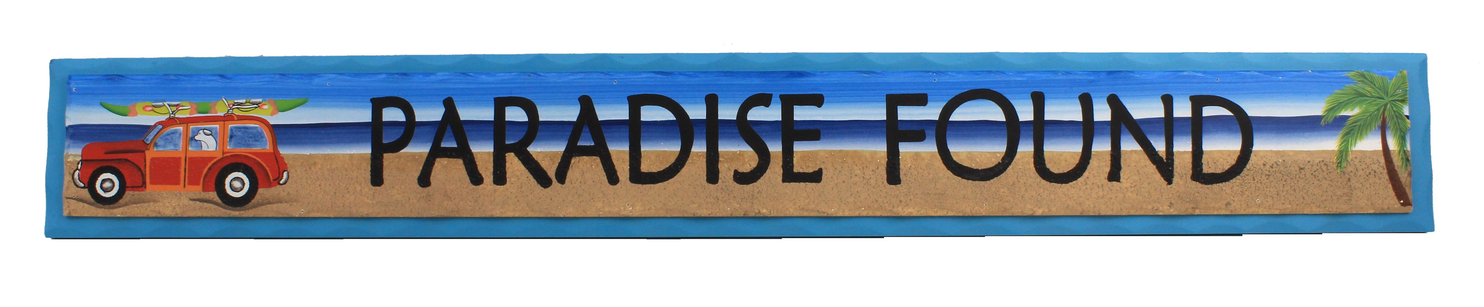 """35"""" Paradise Found Wooden Sign - Hanging Beach Decor"""