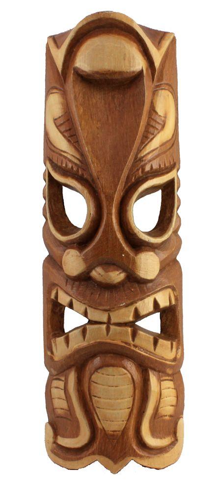 """19.5"""" Light Brown Carved Wood Tiki Wall Mask"""