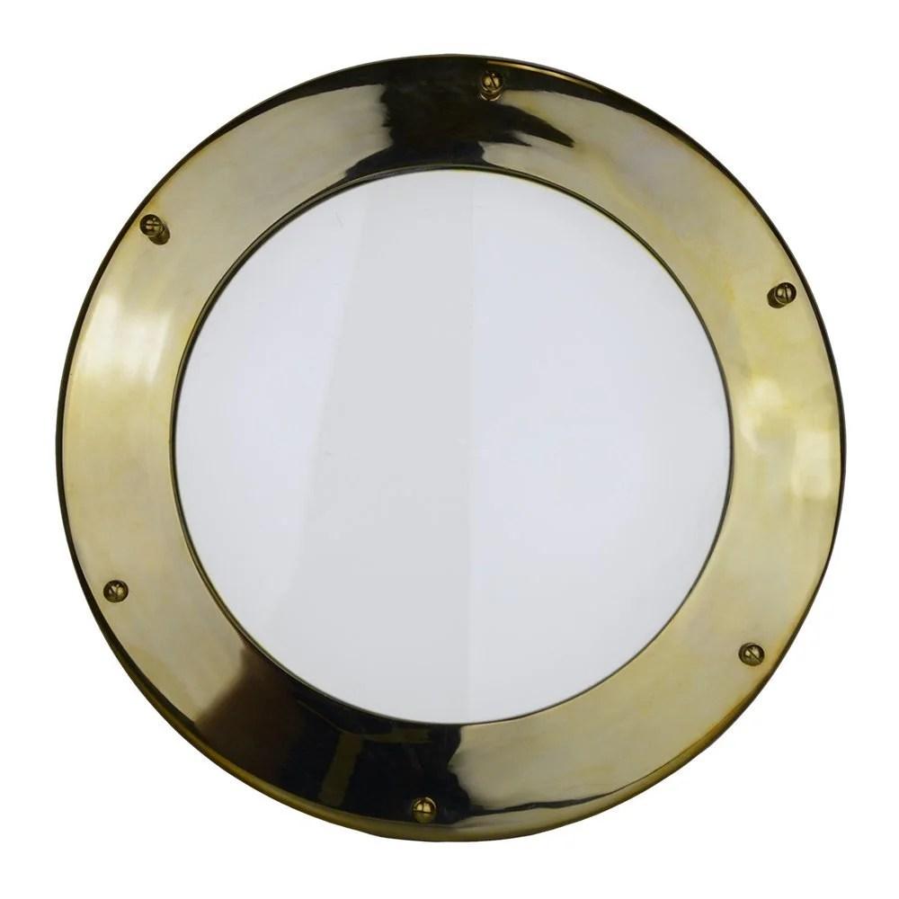 "16"" Solid Brass Non-Opening Deadlight Porthole Window 1 7/8"" Deep Flange"