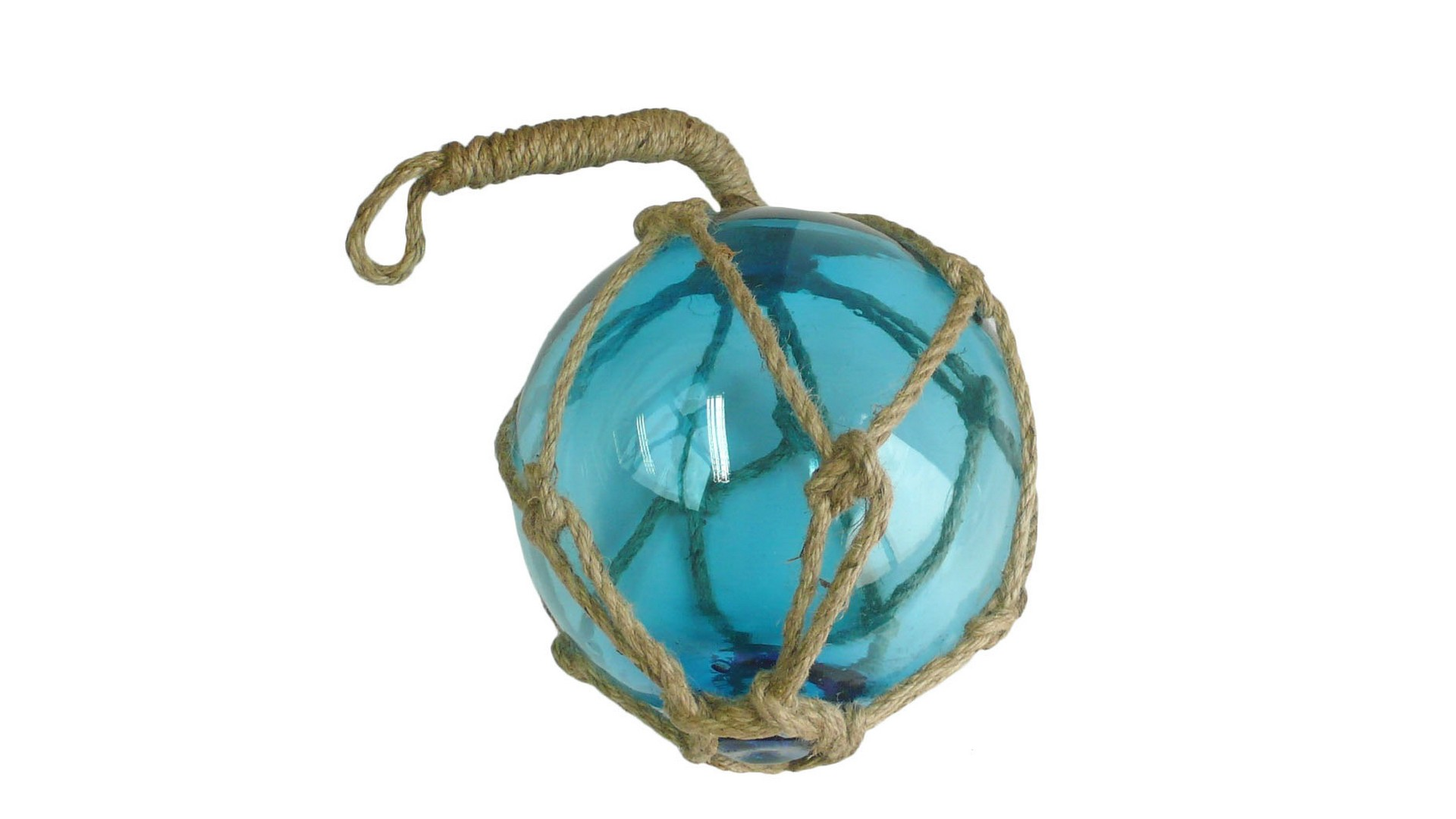 8 inch Light Blue Glass Buoy on a Rope