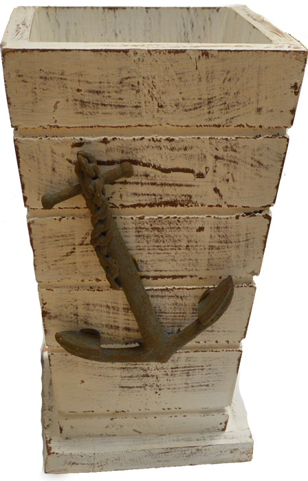 """Wood Vase Large with Anchor 10""""H"""
