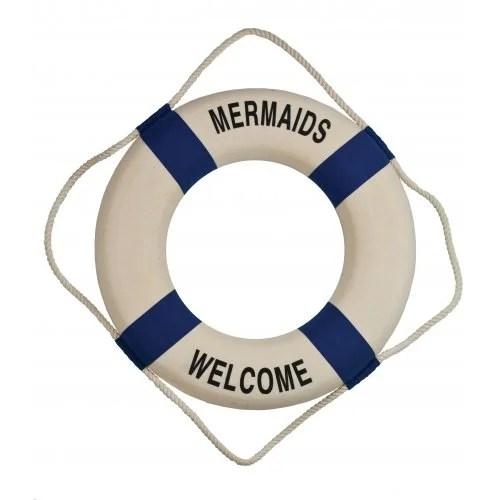"18""Dia Mermaids Welcome Decorative Lifering - Encased Styrofoam"