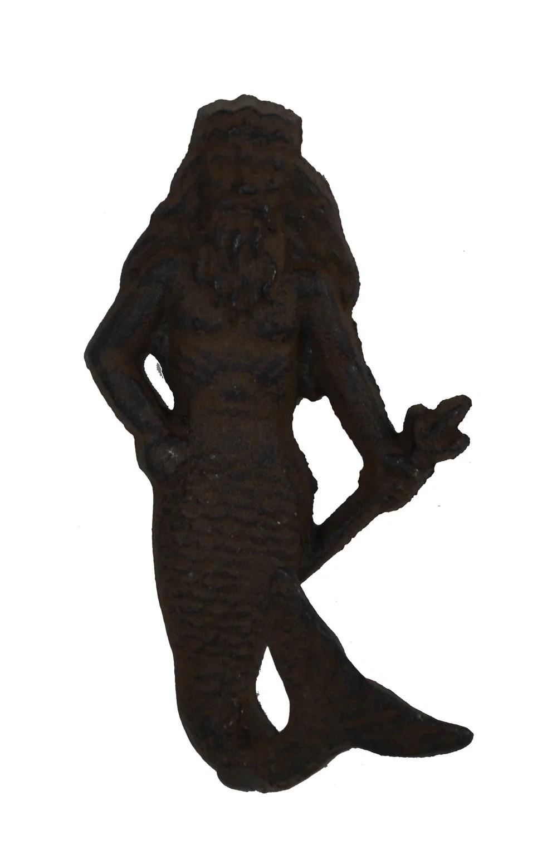 "8.5""H Cast Iron Neptune Male Mermaid Wall Hook"