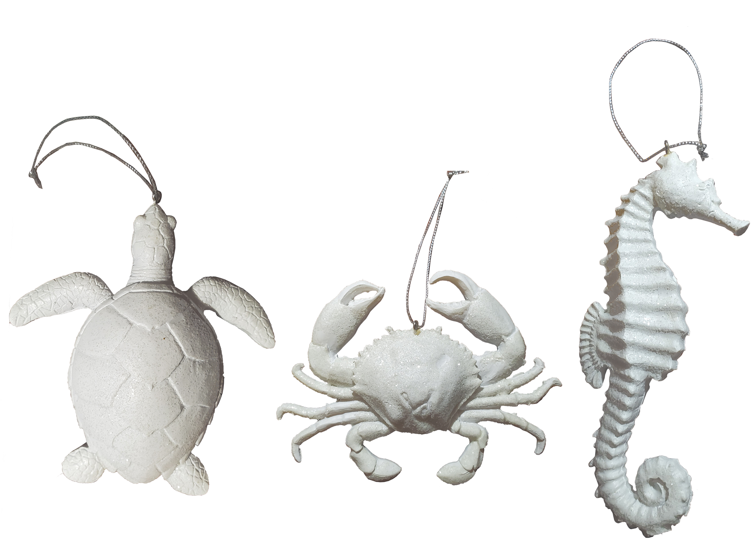 Set Of 3 Sea Creatures Ornaments 3d Crab Turtle And Seahorse Hanging Figurines Nautical Tropical
