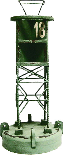 """18.5""""h Solid Wood and Iron Green #18 Navigational Buoy"""