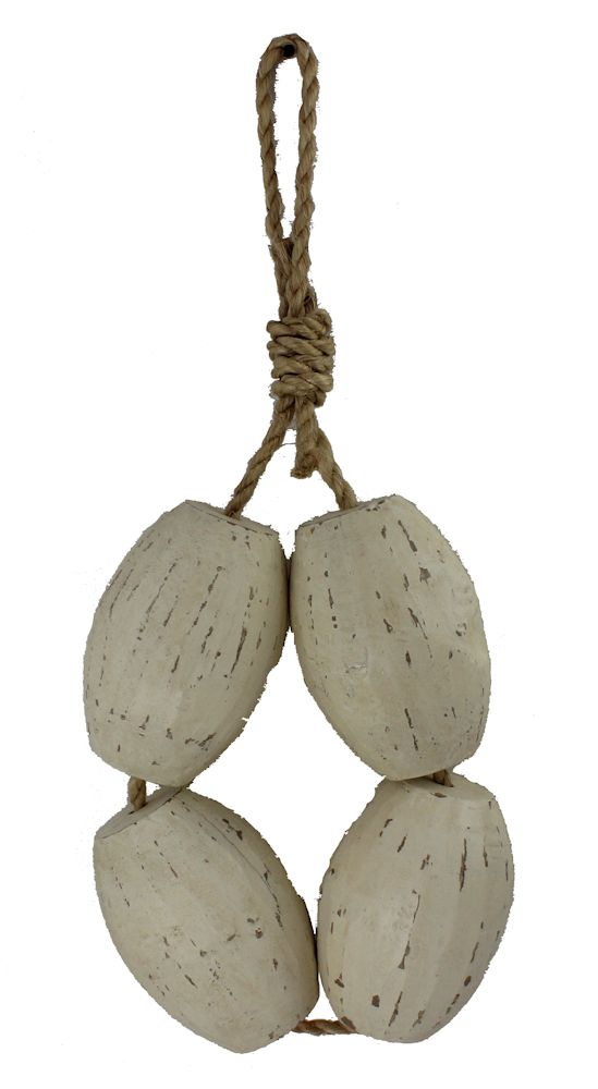 """31.5""""H 4 Piece Distressed Wooden Fishing Floats - Hanging Decor"""