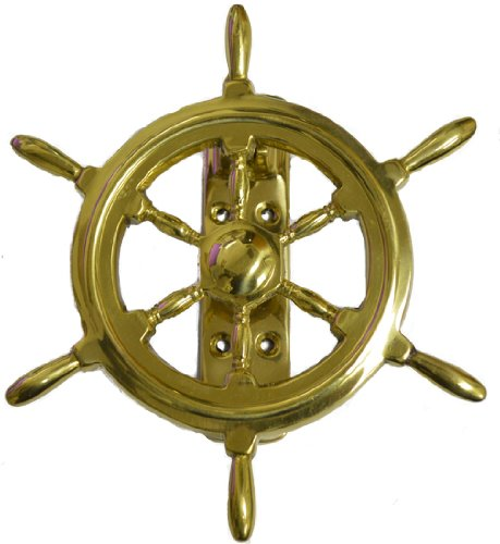 """6.5""""h ShipWheel Solid Brass Door Knocker with Lacquer Finish"""
