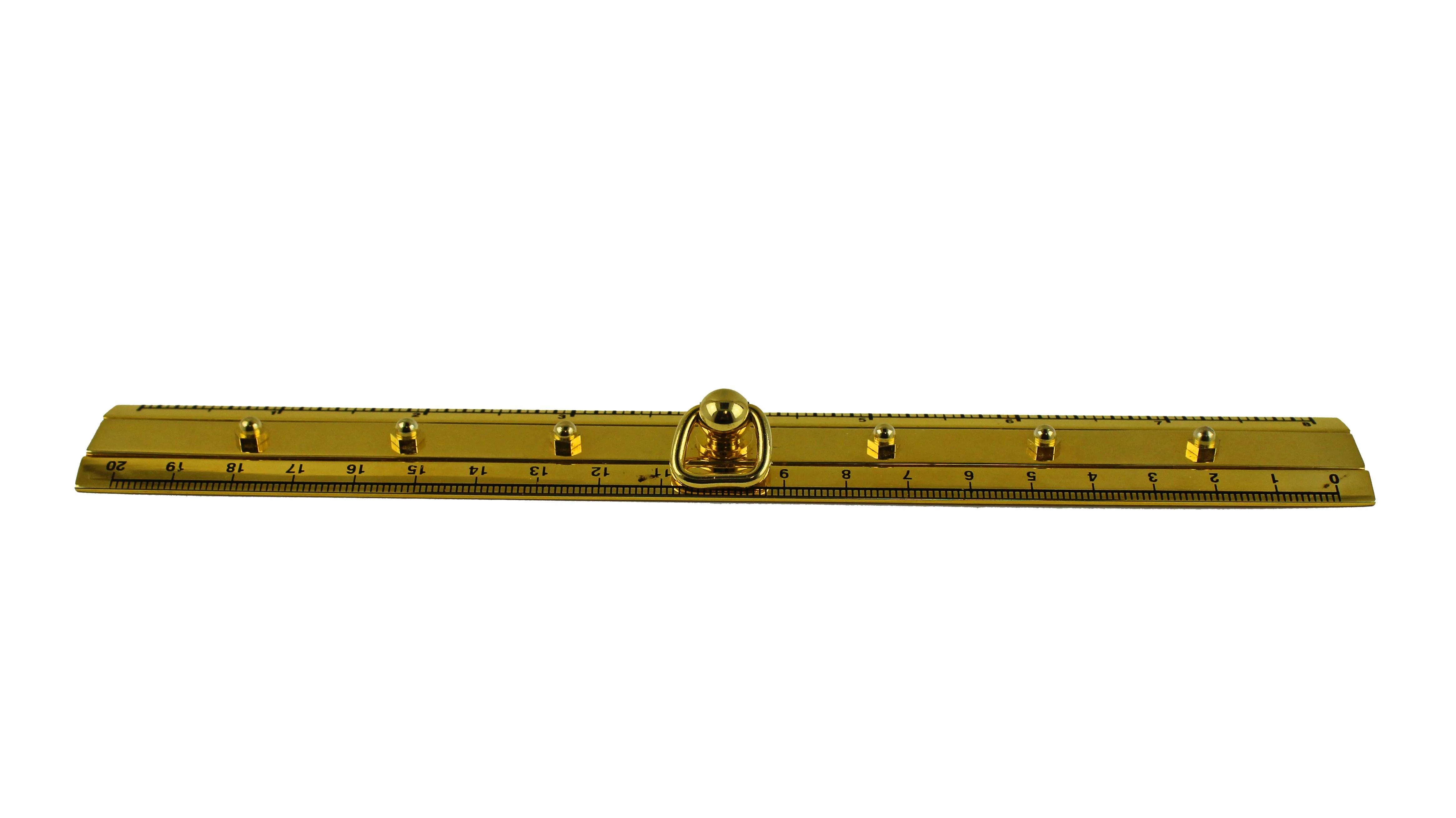 """8""""L Polished Brass Porthole Dog Ear Nautical Ruler"""