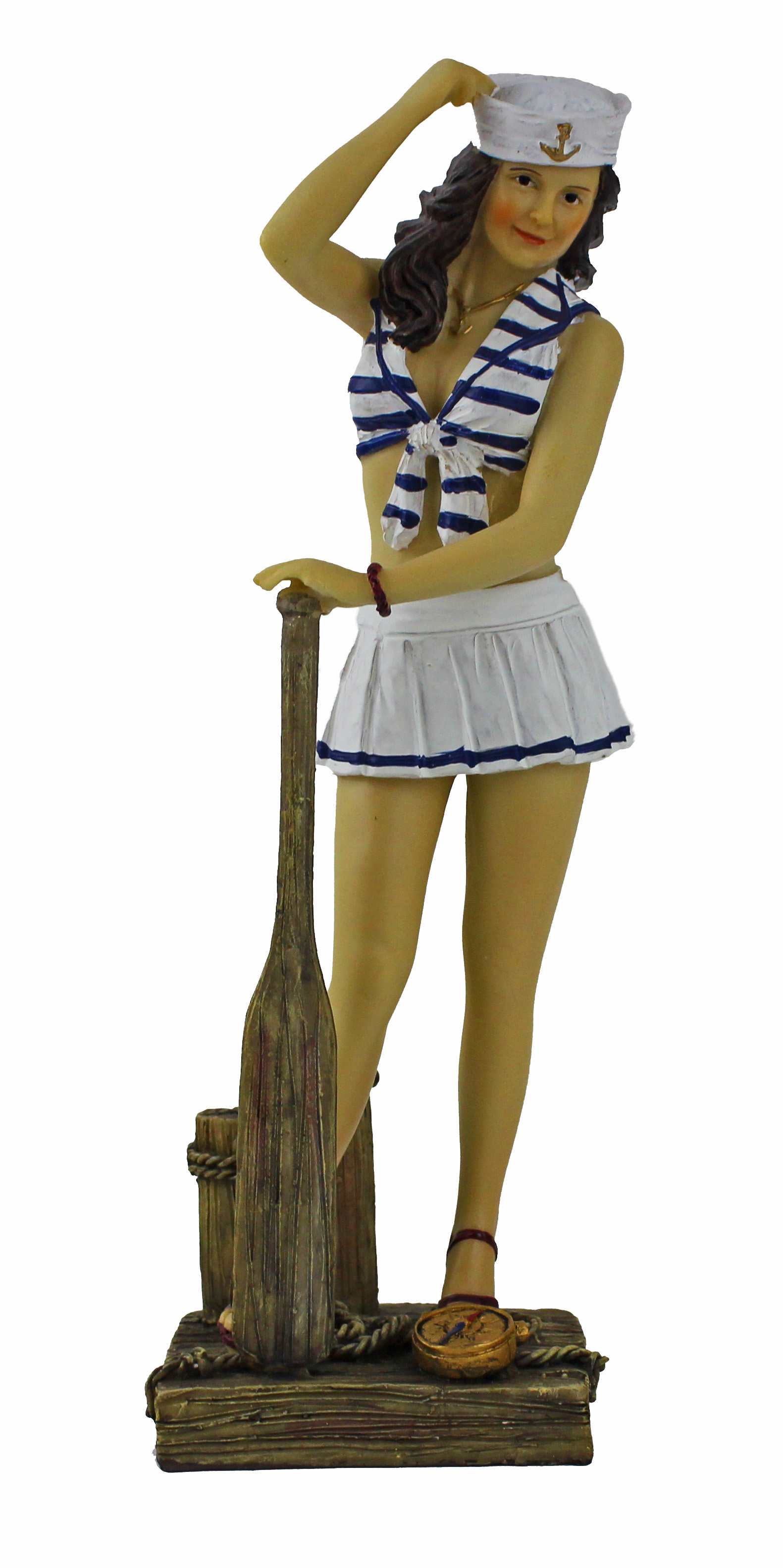 "10""H Polystone Lady Sailor Figurine with Paddle"