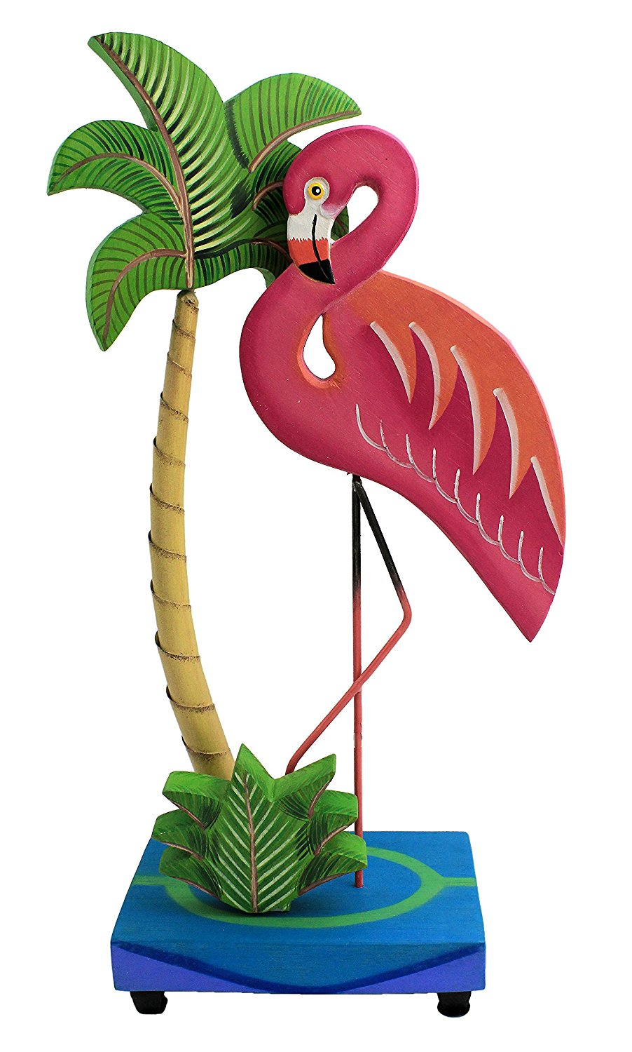 "21""H Metal Pink Flamingo with Palm Tree on Stand"