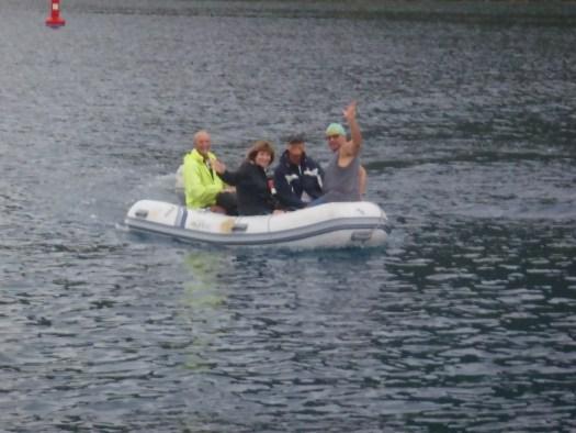Crew Arrival in the rain