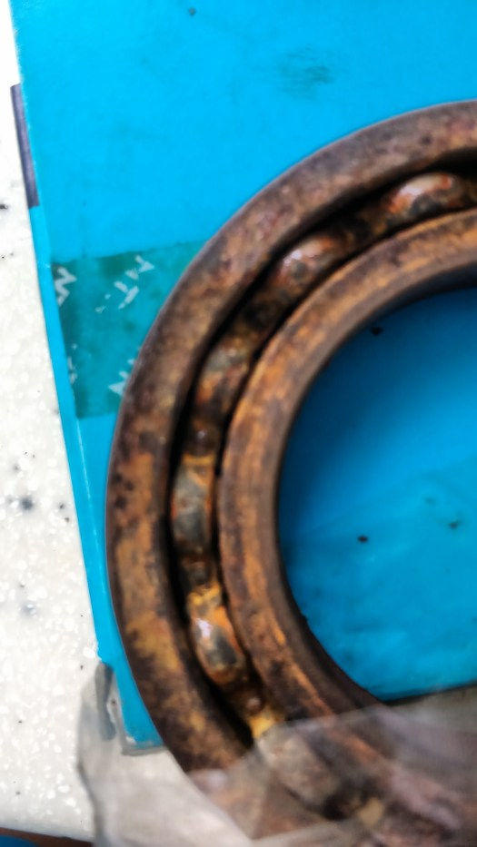 A worn out bearing from one of the electric winches.