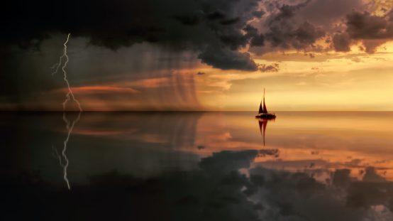 foudre mer bateau orage eclair