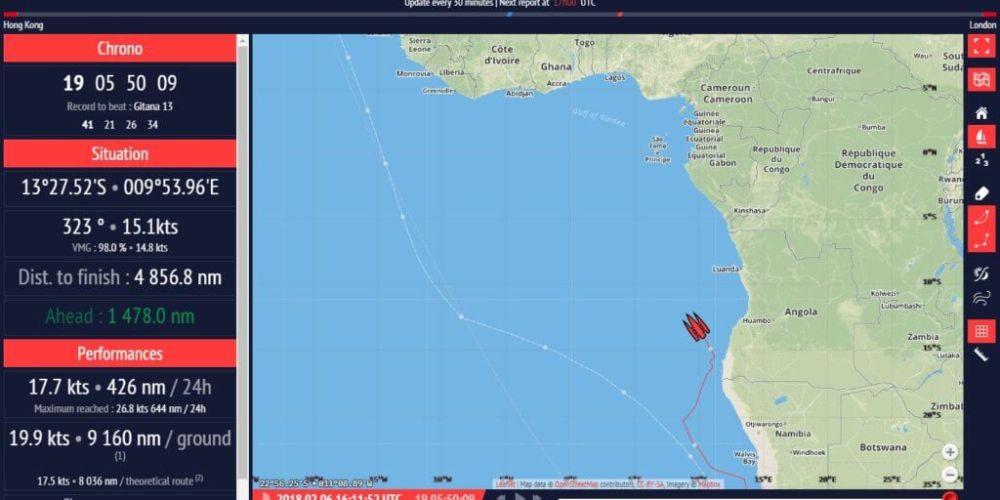 Multi70 Maserati a menos de 5.000 millas náuticas de la línea de llegada