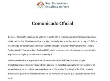 Comunicado RFEV por Iker Martínez