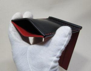 板バネポケット付きマネークリップ黒x赤180205