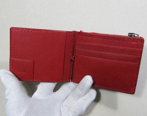 赤いマネークリップカード入れ