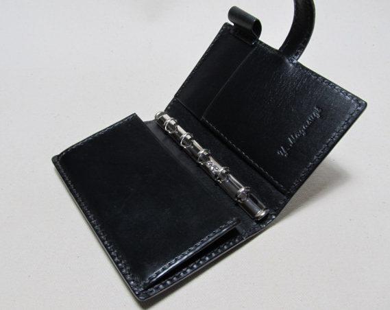 システム手帳マイクロサイズ5穴オーダー黒革