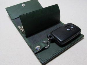スマートキー収納3連キーケース深緑