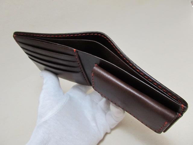 二つ折り財布チョコオレンジステッチ 190121